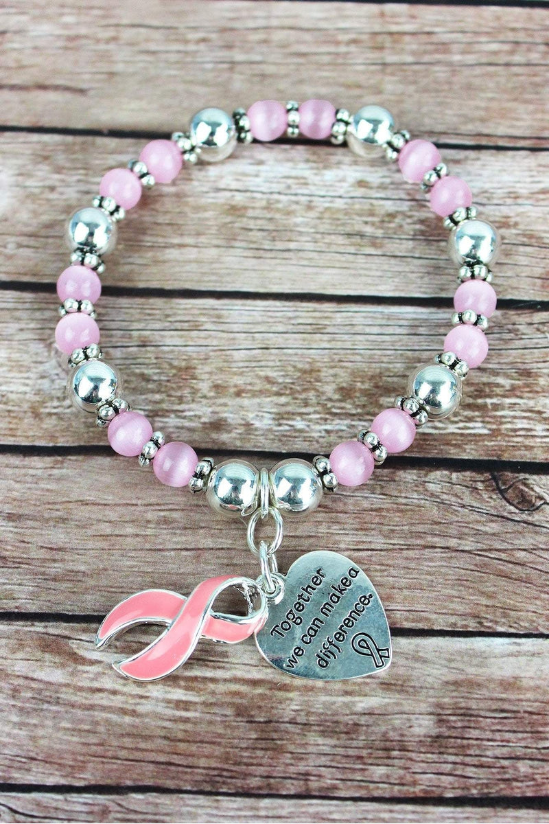 Pink Ribbon and Silvertone Heart Charm Beaded Bracelet