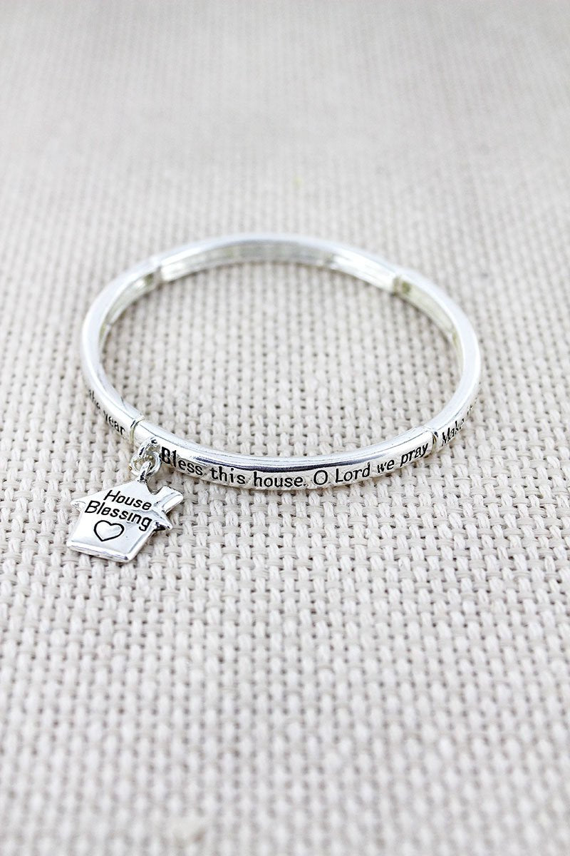 Silvertone 'House Blessing' Stretch Bangle with Charm