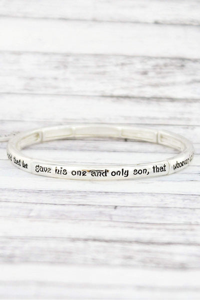 Silvertone 'John 3:16' Stretch Bangle with Cross Charm