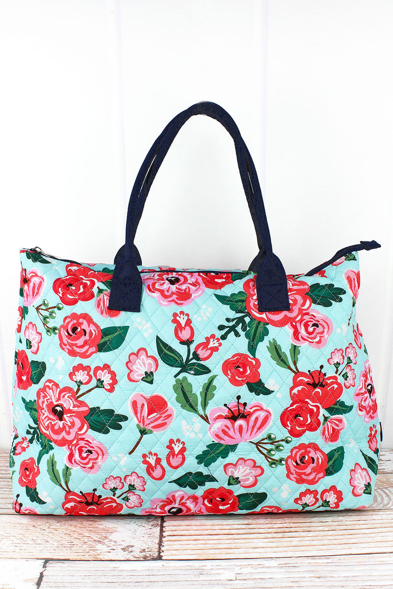 NGIL Painted Posies Quilted Large Shoulder Tote