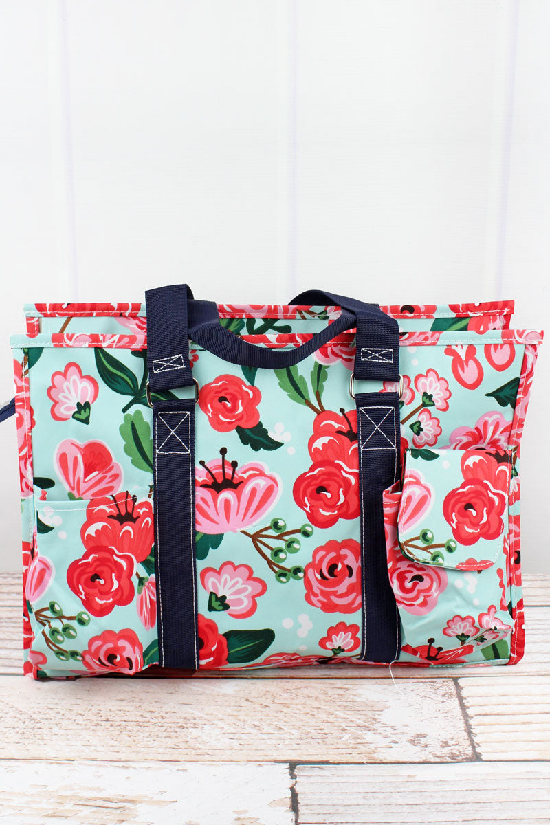 NGIL Painted Posies Utility Tote with Navy Trim