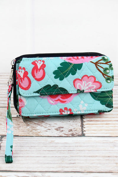NGIL Painted Posies Quilted Crossbody Organizer Clutch