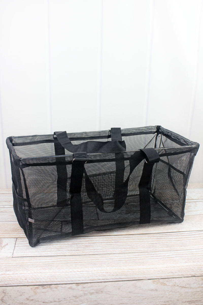 NGIL Black Mesh Collapsible Haul-It-All Basket with Mesh Pockets