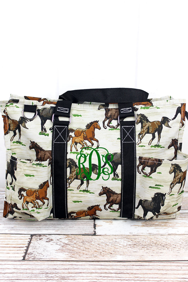 NGIL Wild Horses Utility Tote with Black Trim