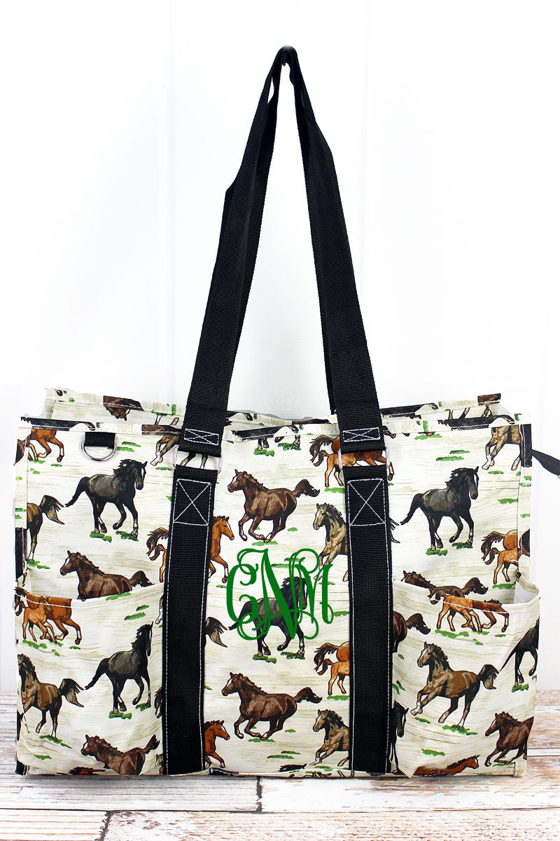 NGIL Wild Horses with Black Trim Large Organizer Tote