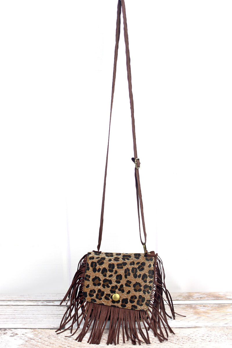 Girl's Leopard Mini Fringed Purse