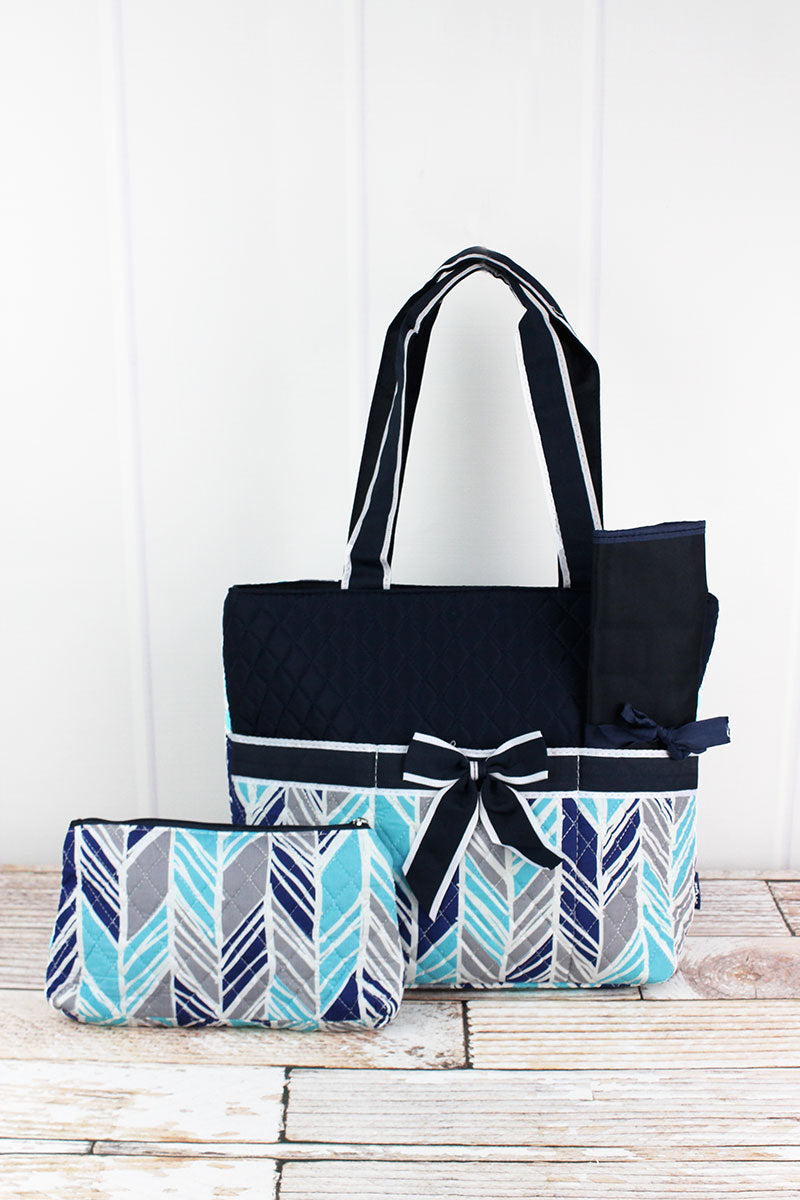 NGIL Seaside Stripes Quilted Diaper Bag with Navy Trim