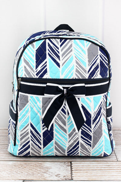 NGIL Seaside Stripes Quilted Backpack with Navy Trim