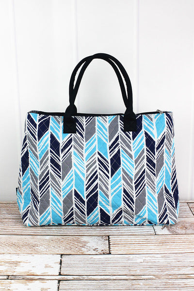 NGIL Seaside Stripes Quilted Large Shoulder Tote