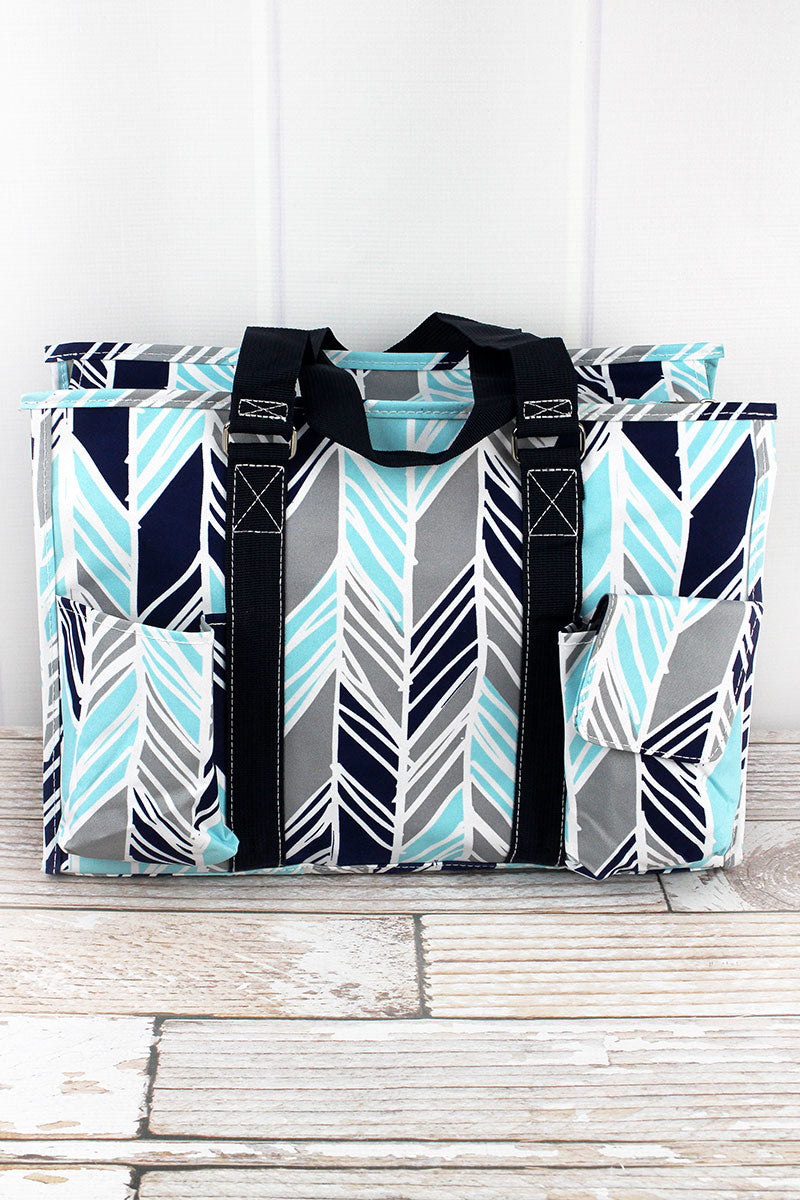 NGIL Seaside Stripes Utility Tote with Navy Trim
