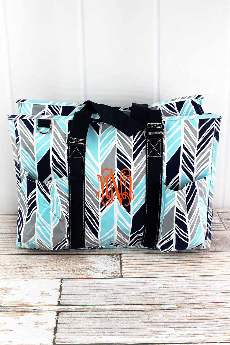 NGIL Seaside Stripes with Navy Trim Large Organizer Tote