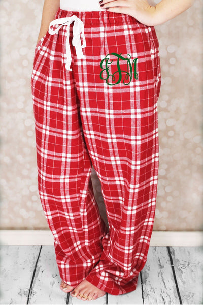 Cardinal Red Plaid Flannel Pajama Pant #F20CARD *Personalize It (PLEASE ALLOW 3-5 BUSINESS DAYS. EXPEDITED SHIPPING N/A) - Wholesale Accessory Market