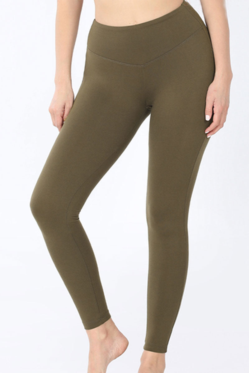 Dark Olive Brushed Wide Waist Butter Leggings