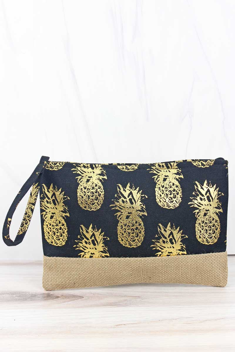 Golden Pineapple Black Wristlet Pouch with Jute Trim