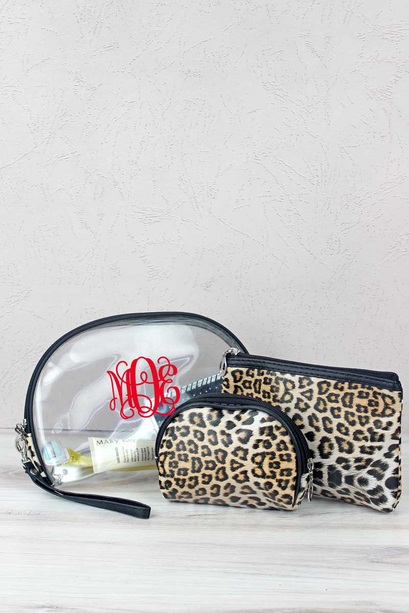 Beige Leopard and Clear 3 Piece Pouch Set