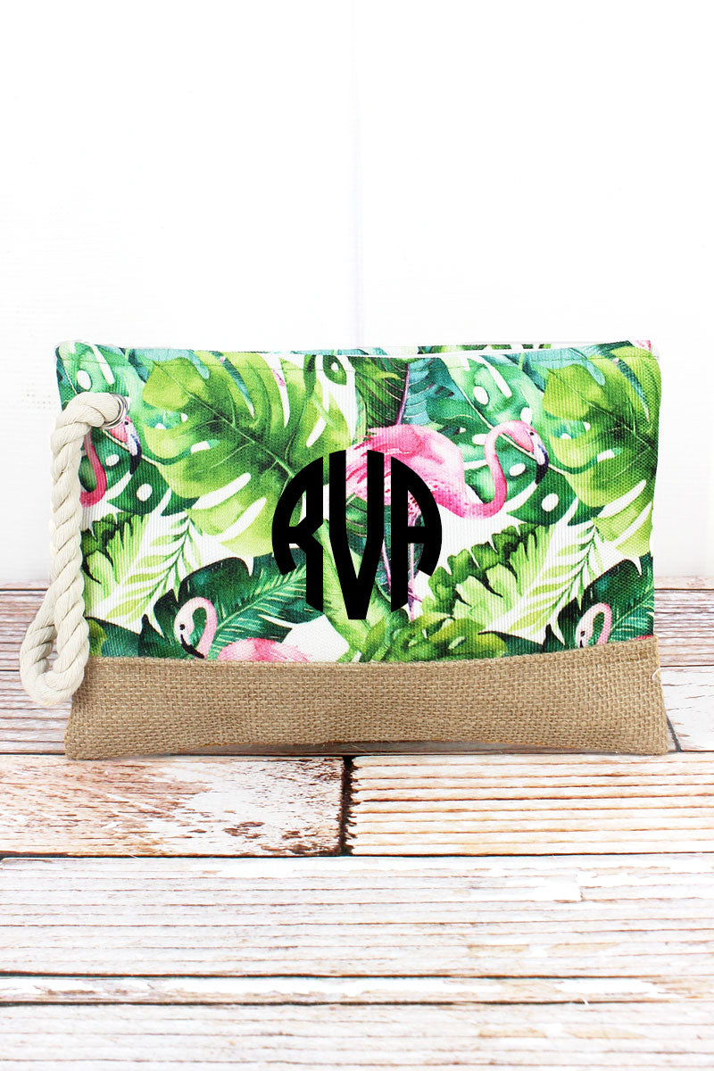 Tropical Flamingo Rope Wristlet Pouch with Jute Trim