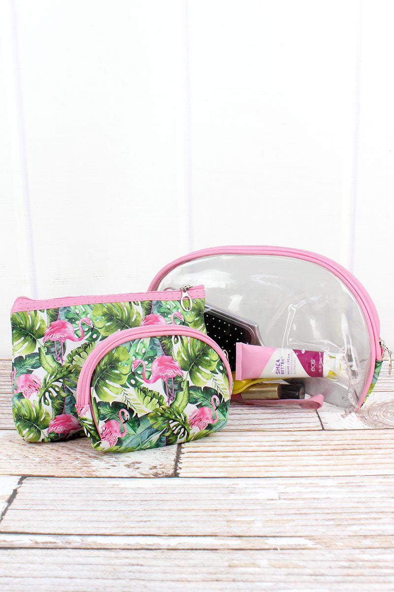 Tropical Flamingo and Clear 3 Piece Pouch Set