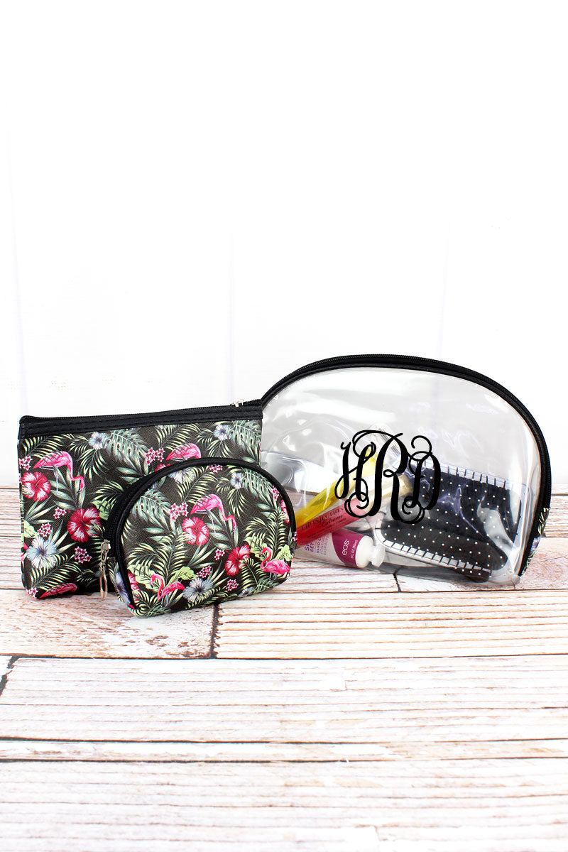 Aloha Flamingo and Clear 3 Piece Pouch Set