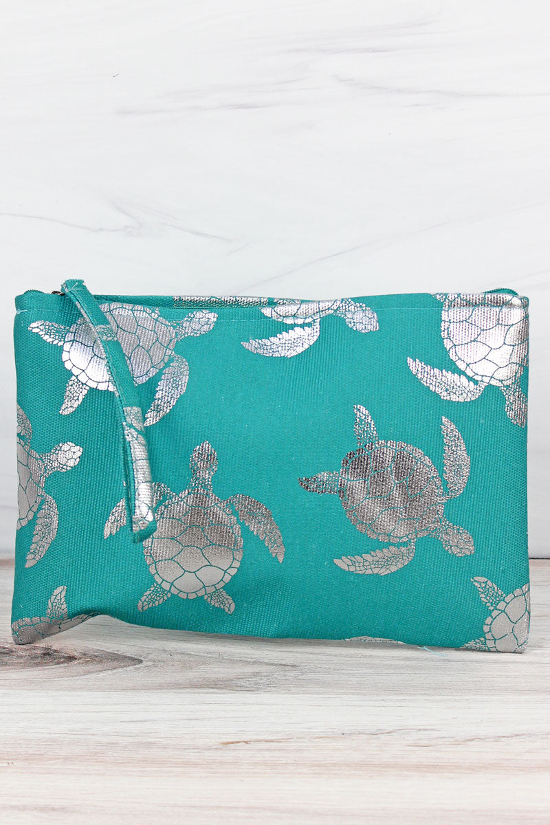 Silver Turtle Turquoise Wristlet Pouch