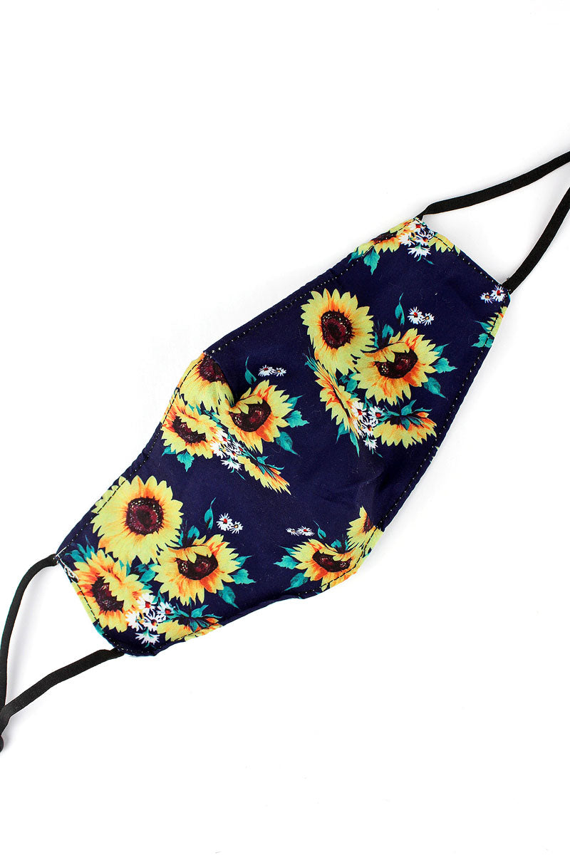 Sunflower Bouquet Navy Fashion Face Mask with Filter Pocket