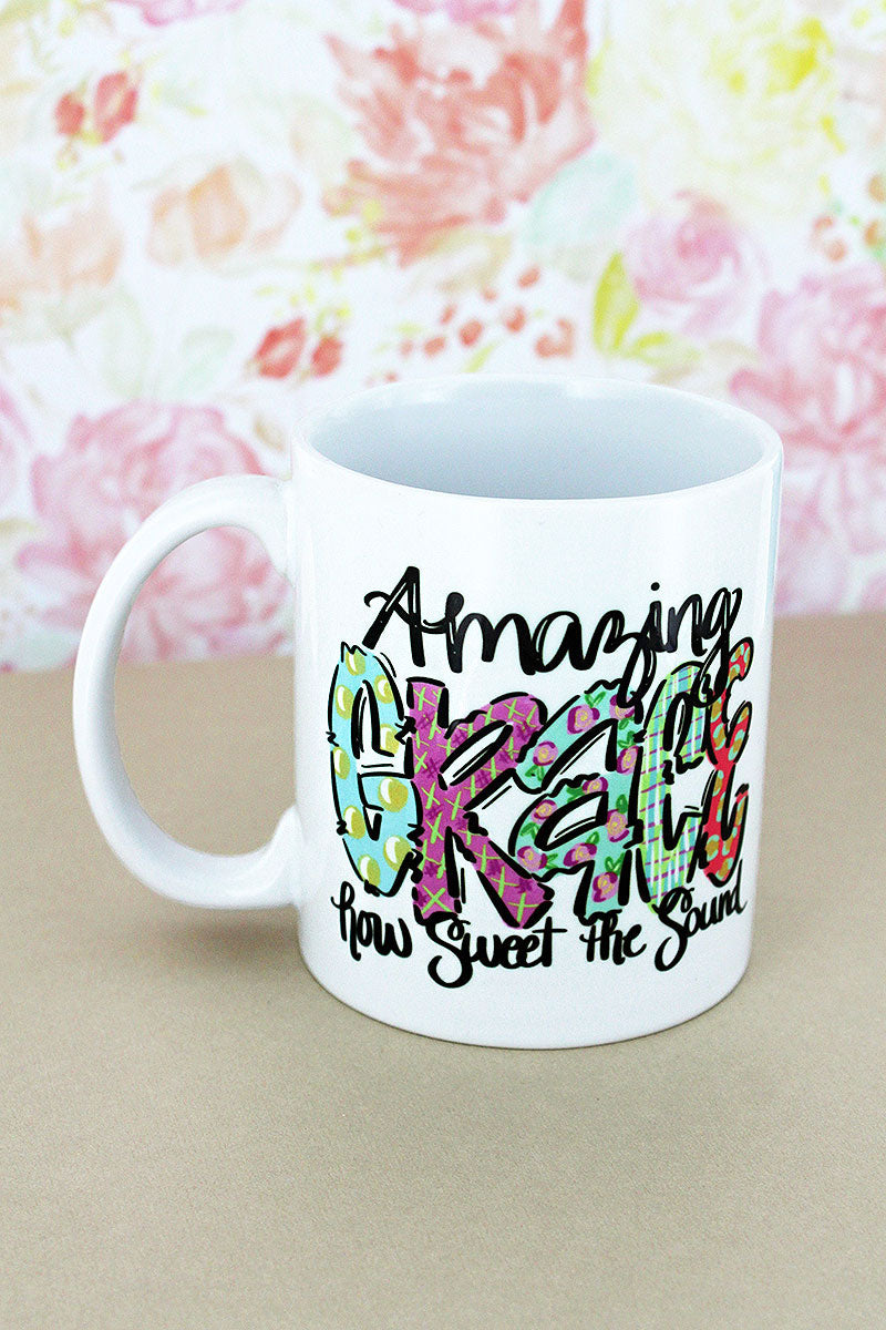 Amazing Grace Watercolor White Mug