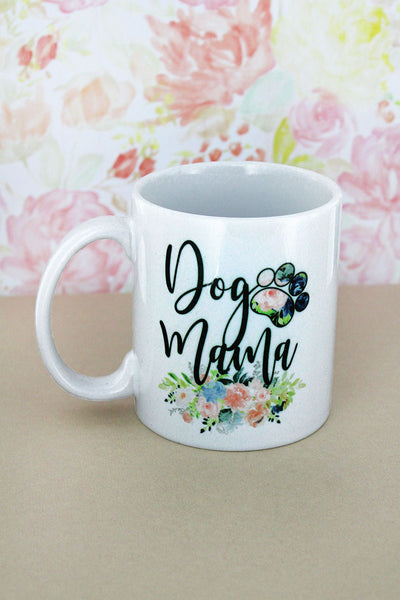 Floral Dog Mom White Mug