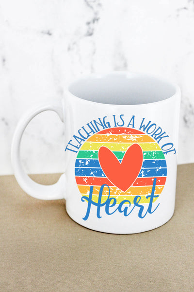 Rainbow Teaching Heart Work White Mug