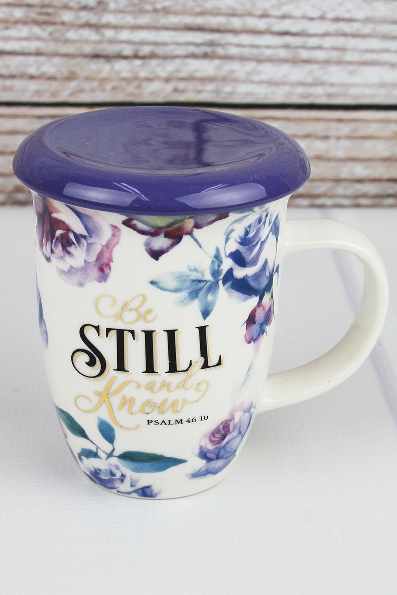Psalm 46:10 'Be Still And Know' Lidded Ceramic Mug
