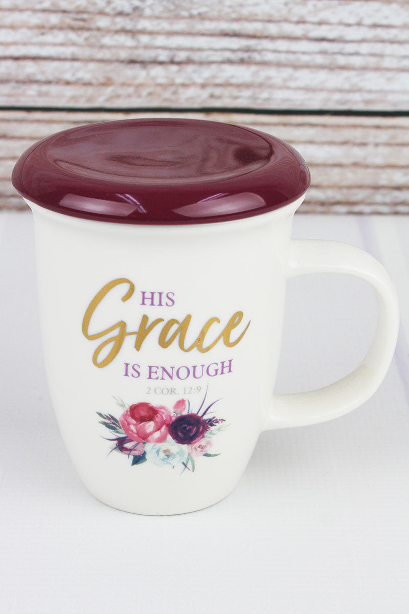 2 Corinthians 12:9 'His Grace Is Enough' Lidded Ceramic Mug