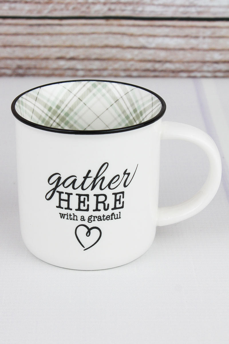 Gather Here White and Plaid Campfire Mug