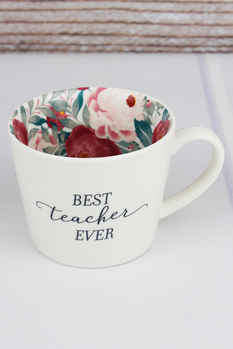 Best Teacher Ever Floral Mug