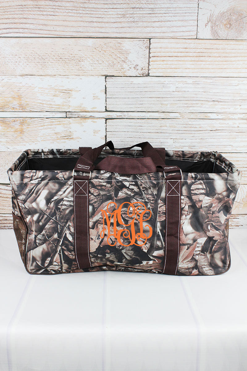 BNB Natural Camo with Brown Trim Collapsible Haul-It-All Basket with Mesh Pockets