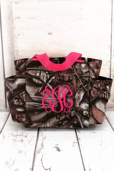 BNB Natural Camo Organizer Tote with Hot Pink Trim #N903-HPINK