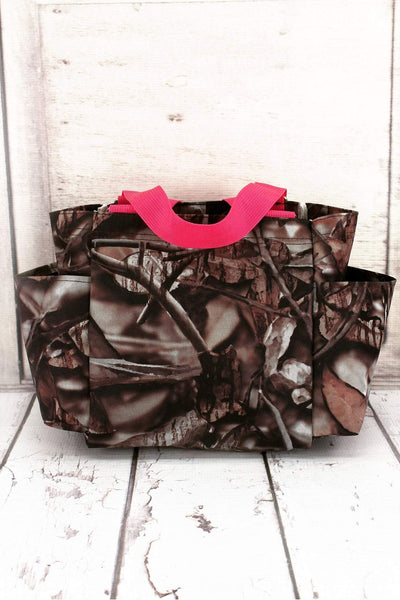NGIL Natural Camo Organizer Tote with Hot Pink Trim