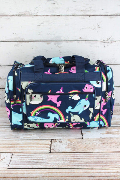 NGIL Narwhal Whimsy Duffle Bag with Navy Trim 17""