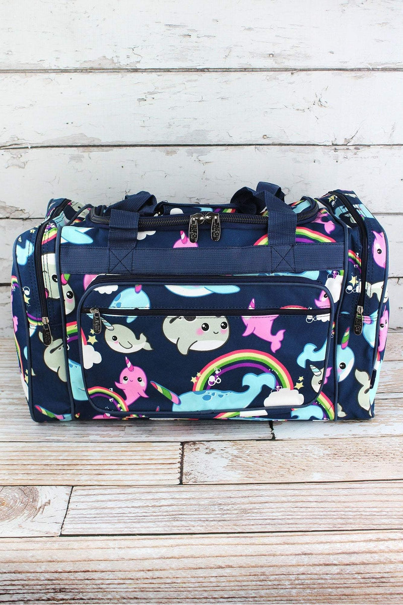 NGIL Narwhal Whimsy Duffle Bag with Navy Trim 20""