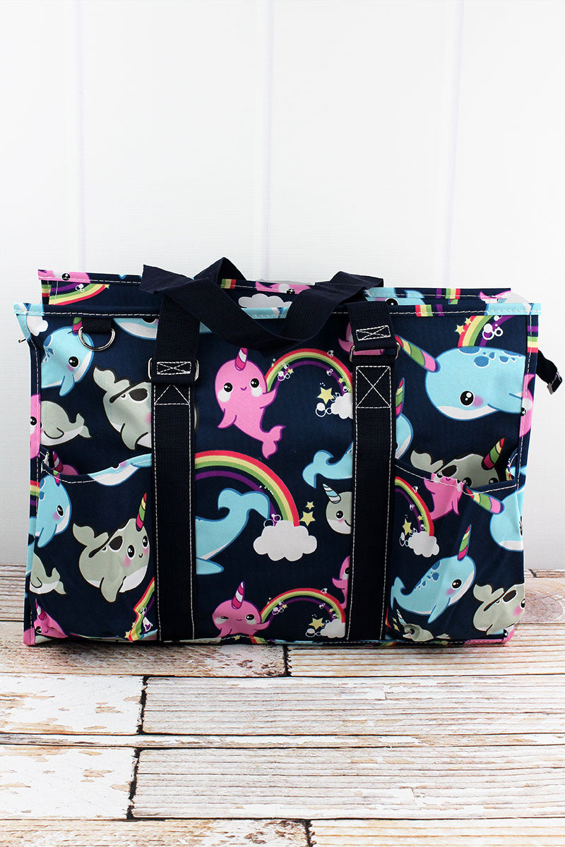 NGIL Narwhal Whimsy with Navy Trim Large Organizer Tote