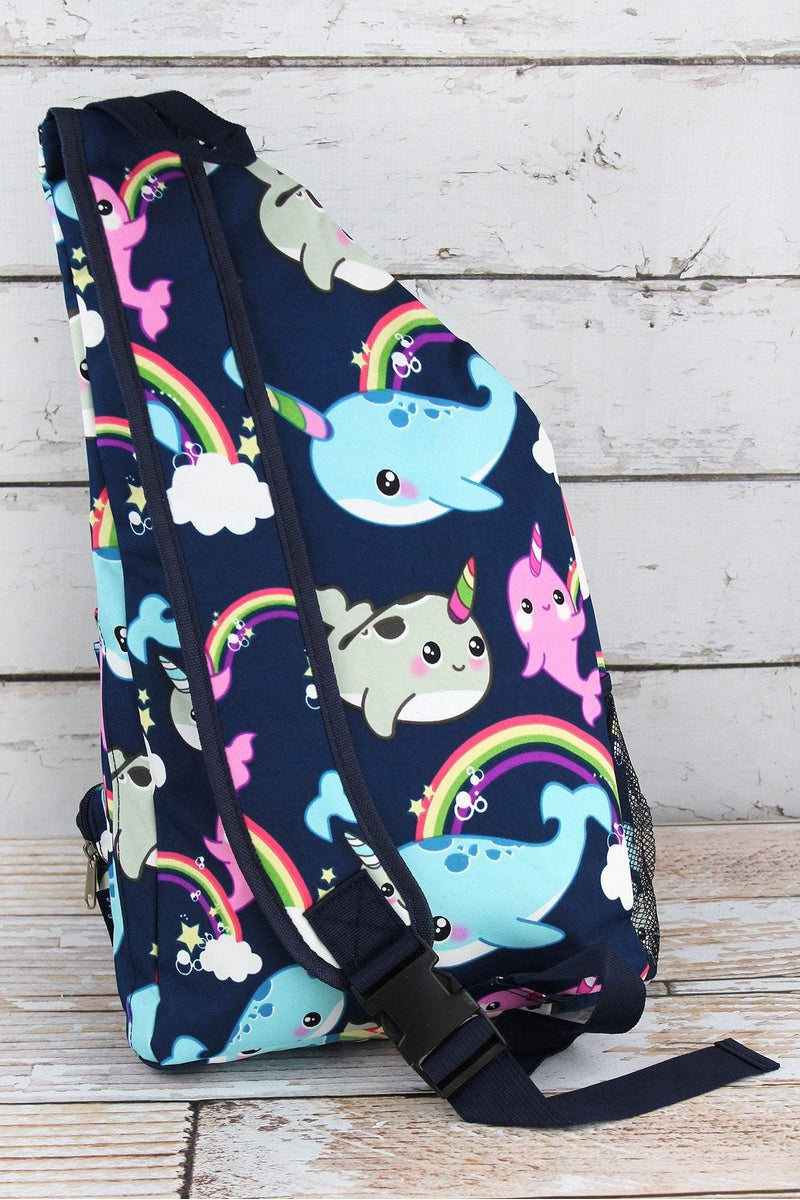 NGIL Narwhal Whimsy Sling Backpack with Navy Trim