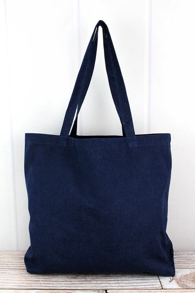 Liberty Bags Washed Navy Large Canvas Tote