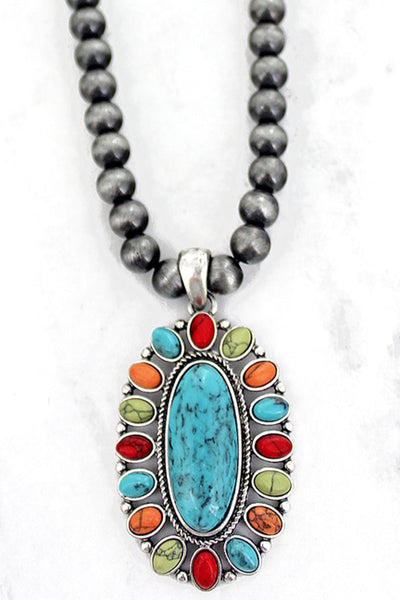 Multi-Color Cahaba Concho Silver Pearl Necklace