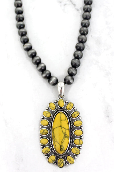 Yellow Cahaba Concho Silver Pearl Necklace