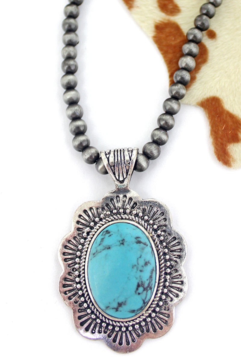 Turquoise Pasadena Silver Pearl Necklace