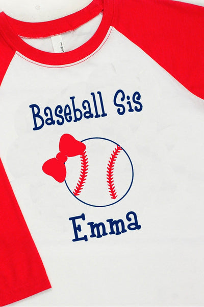 Baseball/Softball Sis Youth 3/4 Sleeve Raglan #NL3352 *Personalize Your Name and Colors (Wholesale Pricing N/A) (PLEASE ALLOW 3-5 BUSINESS DAYS. EXPEDITED SHIPPING N/A)