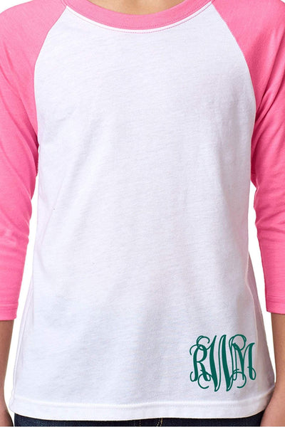 Next Level Youth 3/4 Sleeve Raglan, Hot Pink/White *Personalize It