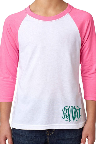 Next Level Youth 3/4 Sleeve Raglan, Hot Pink/White #NL3352 *Personalize It (PLEASE ALLOW 3-5 BUSINESS DAYS. EXPEDITED SHIPPING N/A) - Wholesale Accessory Market