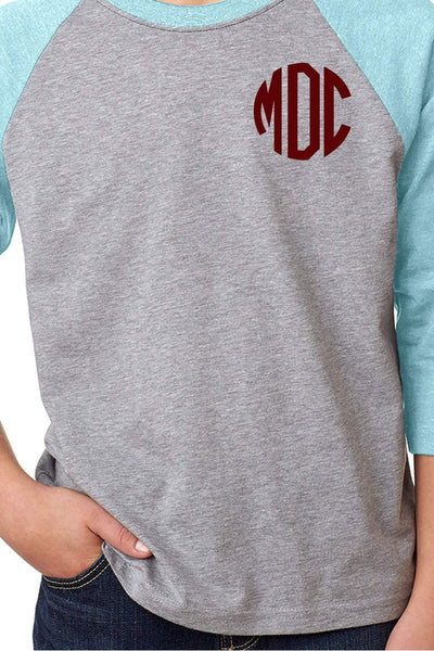 Next Level Youth 3/4 Sleeve Raglan, Ice Blue/Dark Gray Heather *Personalize It