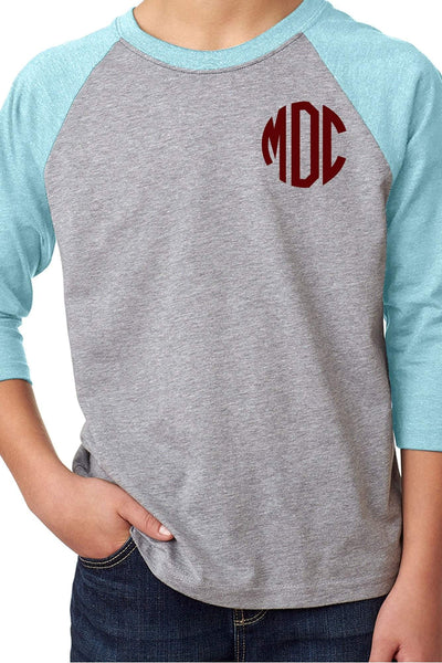 Next Level Youth 3/4 Sleeve Raglan, Ice Blue/Dark Gray Heather #NL3352 *Personalize It (PLEASE ALLOW 3-5 BUSINESS DAYS. EXPEDITED SHIPPING N/A) - Wholesale Accessory Market