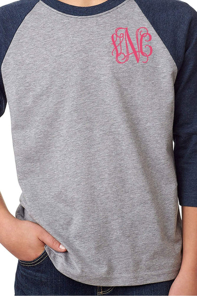 Next Level Youth 3/4 Sleeve Raglan, Navy/Dark Gray Heather *Personalize It