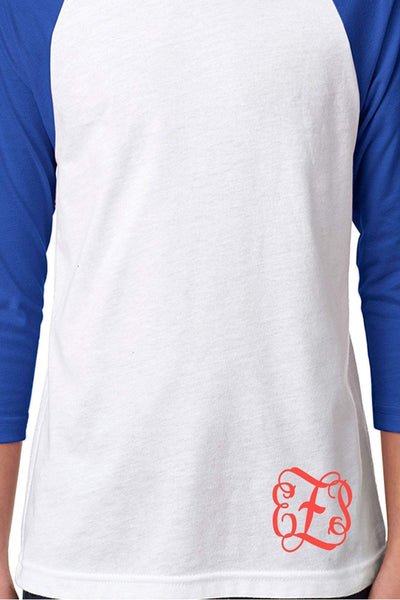 Next Level Youth 3/4 Sleeve Raglan, Royal/White *Personalize It