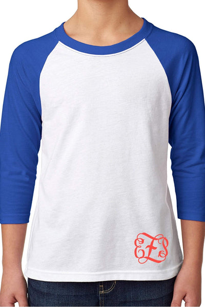 Next Level Youth 3/4 Sleeve Raglan, Royal/White #NL3352 *Personalize It (PLEASE ALLOW 3-5 BUSINESS DAYS. EXPEDITED SHIPPING N/A) - Wholesale Accessory Market